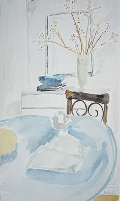 Kitchen Serene, watercolor on paper by Kate Lewis