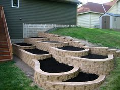 Flower garden idea. Retaining Wall Gardening.