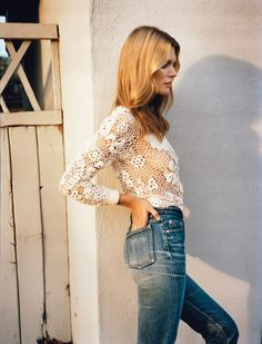 Self Service Magazine S/S 2015 // open knit top & high-waisted jeans #style #fashion #hair