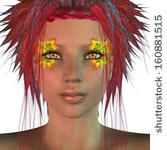 Digitally rendered illustration of a girl with hair made from red leaves. - stock photo