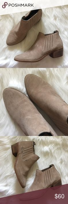 Beige Suede Chelsea Ankle Flat Boots   Dolce Vita Size 6. Great condition and minimally worn. Does have some black marks one outside of one shoe from wear and along the top of the shoe opening (where pants would sometimes rub from wear. Great with dresses and jeans. Just needs a little TLC. Dolce Vita Shoes