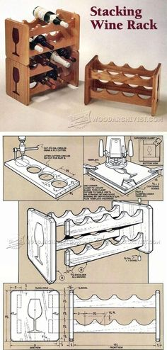 Stacking Wine Rack Plans - Furniture Plans and Projects | WoodArchivist.com #WoodworkingPlansWineRack