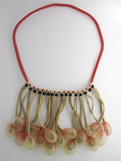 Sarah Peterman (Eugene, OR), Necklace: Cluster, 2007, Rubber bands, rubber grape, blk horn beads, steel washers, looped & tied, Gift of Sara...
