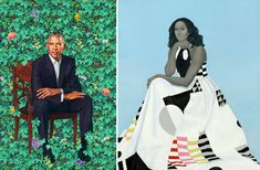"""""""Judging from the reaction, the official 2018 portraits of former President Barack Obama and first lady Michelle Obama were anything but bland. At left, the portrait of Mr. Obama by Kehinde Wiley, and the portrait of Mrs. Obama by Amy Sherald. Michelle Obama, Barack Obama, Obama Presidential Portrait, Obama Painting, Black History, Art History, Ancient History, Obama Portrait, Portrait Art"""