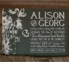 chalkboard-inspired wedding invitations by Southall Eden Paperie