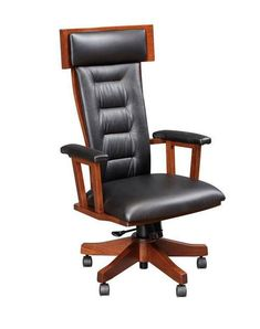 Amish London Desk Chair Exquisite executive office furniture full of comfort! What will your London Desk Chair look like? Lots of wood, finish and upholstery options to choose from.