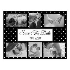 Black and White Dots Photo Save the Date Postcard  $1.00  by TimefortheHolidays  - custom gift idea