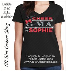 Custom Proud Cheer GMA Bling Rhinestone Shirt, Cheer Grandma Bling Shirts, Bling Cheer GMA, Custom Grandma Cheer Rhinestone Shirt by AllStarCustomBling on Etsy