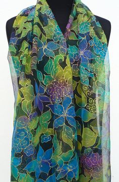 Floral chiffon scarf pure silk green blue handpainted by Irisit