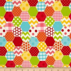Riley Blake Hexi Print Flannel Rainbow from @fabricdotcom  Designed by RBD Designers for Riley Blake Designs, this soft double napped (brushed on both sides) flannel cotton print fabric is perfect for crafts, quilting, apparel and crafts. Colors include red, pink, aqua, lime, yellow and white.