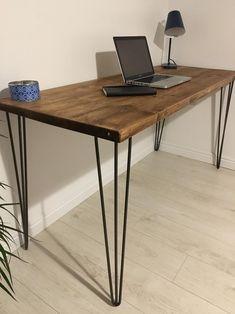Reclaimed Wood Desk, Wooden Desk, Wooden Tables, Modern Wood Desk, Rustic Wood, Wood And Metal Desk, Dark Wood Desk, Bureau Simple, Simple Desk