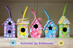 easy kids craft button birdhouses
