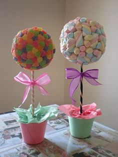 Pretty pastel sweet trees with bows. Made from jelly sweets and marshmallows. Delicious and beautiful