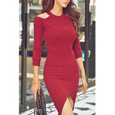 Sexy Round Neck Sleeve Solid Color Cut Out Asymmetrical Women's Cut And Color, Bodycon Dress, Geek, Sleeves, Dresses, Fashion, Gowns, Moda, Body Con
