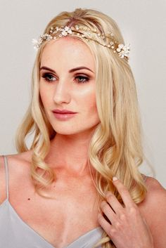 A modern flower crown, the Dolores pearl bridal halo is unique and striking. Made of handmade flowers and delicately hand wired for a soft bohemian style. Bridal Hair Vine, Bridal Crown, Wedding Hair Accessories, Bridal Headpieces, Handmade Flowers, Flower Crown, Hair Pins, Bohemian Style, Halo