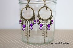 Boucles d'oreilles créoles bronze violettes : Boucles d'oreille par les-crea-de-louline