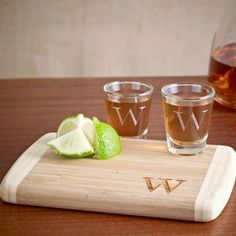 groomsmen Exclusively Weddings | Bamboo Cutting Board and Shot Glass Set