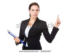 Business woman with clipboard and finger point up - stock photo