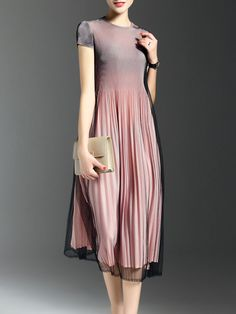#AdoreWe StyleWe Midi Dresses - LONYUASH Skater Street Short Sleeve Midi Dress - AdoreWe.com