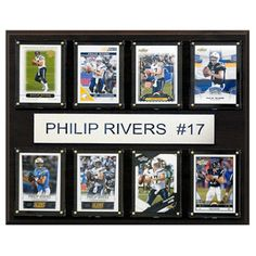 C and I Collectables NFL 15W x 12H in. Philip Rivers San Diego Chargers 8 Card Plaque - 1215RIVERS8C