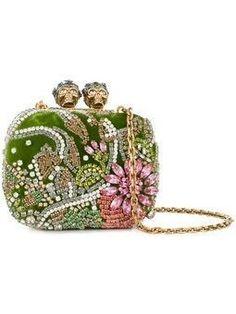 Green Clutches, Green Purse, White Clutch, White Handbag, Embellished Clutch Bags, Alexander Mcqueen Handbags, White Leather Handbags, Leather Clutch, Leather Purses