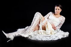 soft ivory lace over the knee wedding boots