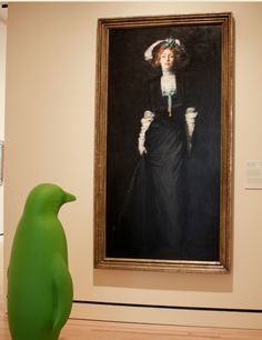 """Green Penguin"" from 21c Museum Hotels --Bentonville visited Crystal Bridges, and if you correctly identify the artwork that our friend is photographed alongside, you may win some special prizes. (check our Facebook photo albums if you need some name/title assistance) crystalbridges.org http://www.21cmuseumhotels.com/bentonville/2013/07/26/day-five-white-plumes/"