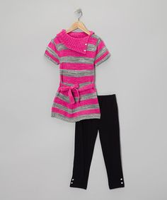 Make dressing for the day a fuss-free affair with this conveniently coordinated set. Complete with a soft, stylish sweater tunic and matching leggings with a comfy elastic waistband, it's a fun-loving look for little ones on the go.