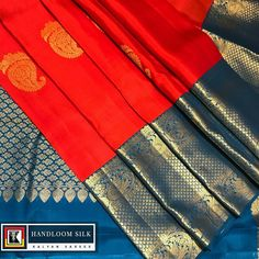 No wedding is said to be complete in India without a Kanchipuram Silk. Showcased here in torch red and blue colour is a limited edition… Blue Silk Saree, Silk Sarees, Kanjipuram Saree, Sari, Indian Fashion, Womens Fashion, Bridal Wedding Dresses, Indian Sarees, Blouse Designs