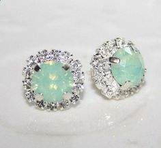 Seafoam Mint Green Silver Earrings Swarovski by AngelPearls, $31.00