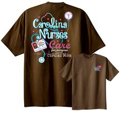Carolina Nurses Care about Everyone #UndertheCarolinaMoon.  This shirt features a stethoscope and badge pull design.