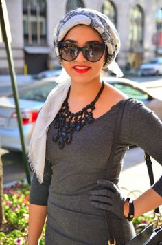 AboutThatWrap: Statement Necklace with Long Sleeve Dress + Cateye Sunglasses