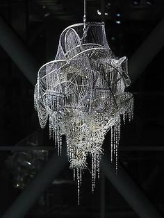 """Lee Bul, """"Sternbau No. 4, 2007,"""" crystal, glass and acrylic beads on nickel-chrome wire, stainless steel and aluminum armature"""