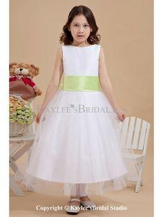 Tulle Jewel Neckline Tea-Length A-Line Flower Girl Dress with Bow