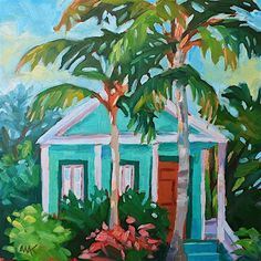 "My house  paint color    Yea! I found the right one!!      Daily Paintworks - ""Key West Green House"" - Original Fine Art for Sale - © Mary Anne Cary"