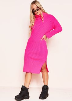 18cf71943922b1 Missyempire - Nada Neon Pink Roll Neck Knit Jumper Dress Roll Neck, Jumper  Dress