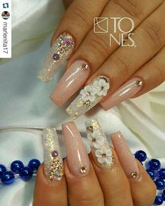 What you need to know about acrylic nails - My Nails French Nails Glitter, Fancy Nails, Bling Nails, 3d Nails, Acrylic Nails, Nails 2017, Pastel Nails, Glitter Nails, Coffin Nails