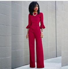 Red 3/4 quarter sleeve pant romper red lips Afro stretched hair deep side part chain necklace