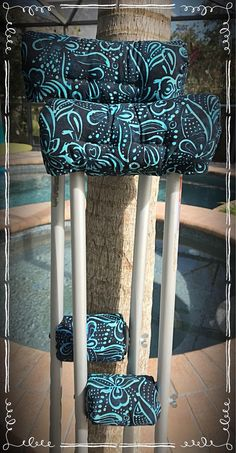 Newest crutch cover style... Blues and Navy watercolor batik crutch covers! #accessories #black #batikcrutchcovers #crutchaccessories #crutchcovers #crutchpads #cotton #velcro #batting
