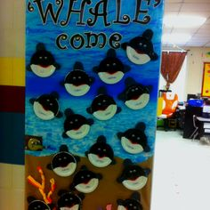 My classroom door for open house. Doing an ocean theme!  'WHALE'come