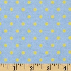 Flannelle imprimé - small dots - blue/yellow