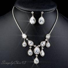 Five Drop Crystal Wedding Necklace Earrings Set Bridal
