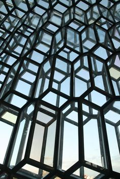 Glass wall at Harpa Concert Hall and Conference Centre. Reykjavik.