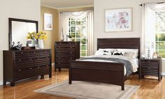 5 pc Cayden collection merlot finish wood queen size headboard and footboard bedroom set.  This set includes the Queen bed…