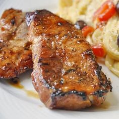 Honey Ginger Dijon Glazed Pork Chops      While there is still some good grilling weather to be enjoyed, I thought I'd share a very quick and simple recipe for very tasty grilled porkchops, which coupled with a simple pasta dish makes a great workday meal in only about 20 minutes!    Grill 4 to 6 pork loin chops and brush repeatedly with the honey,