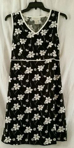 Norton McNaughton 100% Linen Black/White Floral Dress Size XL #NortonMcNaughton