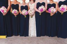 KC Wedding Photographer: Bridal party: Navy Blue Bridesmaid Dresses. Light pink Wedding Flowers