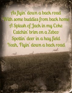 As flyin down a back road with some buddies from back home, a splash of Jack in my Coke catching brim on a Zebco, spottin deer in a hay field, yeah, flyin down a back road