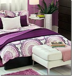 malm queen bed with purple bedding - ikea 2012 catalog