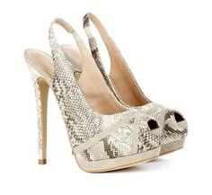 Sexy Snakeskin Peep Toe Heels #heels